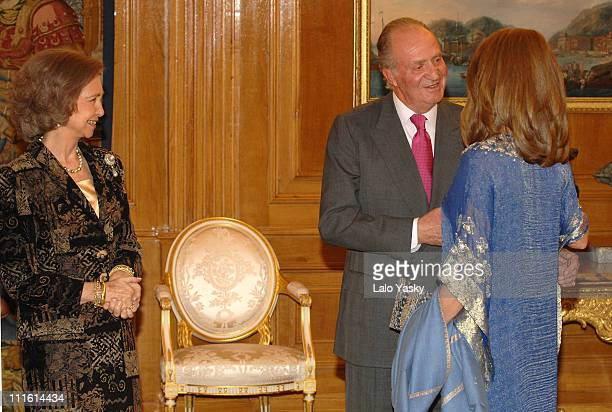 King Juan Carlos and Queen Sofia of Spain receive Queen Noor of Jordan at the First Alliance of Civilization Forum participants reception at Zarzuela...
