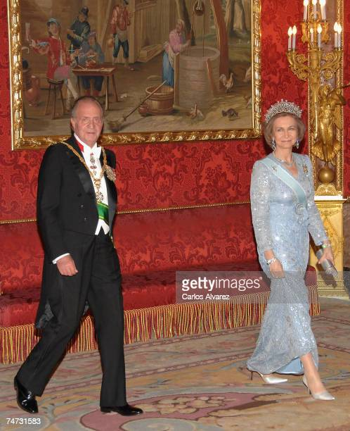 King Juan Carlos and Queen Sofia of Spain receive Saudi King Abdullah Bin Abdul Aziz Al Saud for a Gala dinner on June 18 2007 at Royal Palace in...