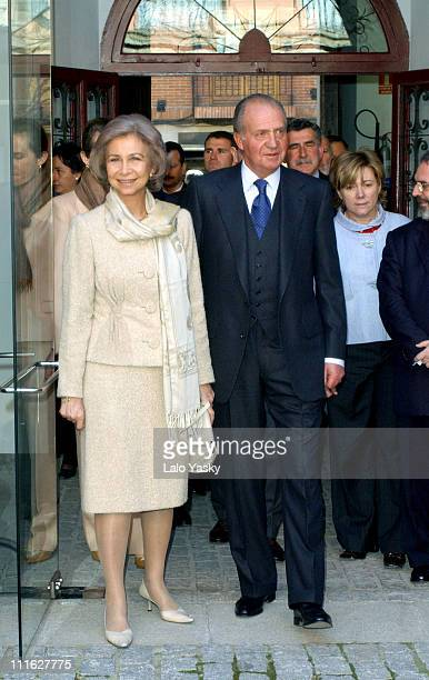 King Juan Carlos and Queen Sofia of Spain visit the library of the Cervantes Institute in the village of Alcala de Henares near Madrid where Miguel...