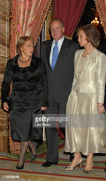 King Juan Carlos and Queen Sofia Receive Chilean President Michelle Bachelet for a Gala Dinner at the Royal Palace in Madrid