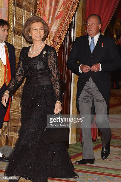 King Juan Carlos and Queen Sofia receive Foreign Ambassadors at the Royal Palace on January 13 2005 in Madrid Spain