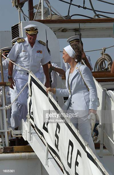 King Juan Carlos and Queen Sofia visit the Spanish military training ship Juan Sebastian Elcano July 29 2001 at Palma de Mallorca Island Spain
