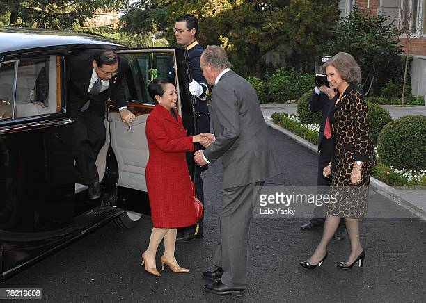 King Juan Carlos and Queen Sophia receive the President of the Philippines Gloria Macapagal and her husband Jose Miguel Arroyo at Zarzuela Palace...