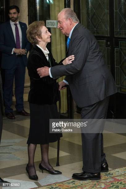 King Juan Carlos and scientific Margarita Salas attend the 'Medalla Echegaray 2016' medal delivery ceremony on November 21 2017 in Madrid Spain