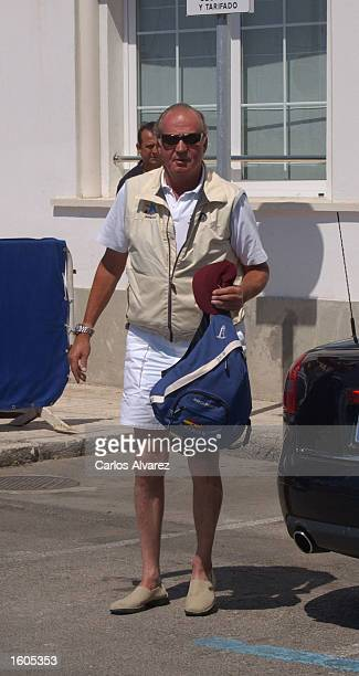 King Juan Carlos arrives at Royal Nautical Club of Palma of Mallorca July 29 2001 on Palma de Mallorca Island Spain