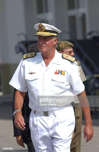 King Juan Carlos arrives at the Spanish military training ship Juan Sebastian Elcano July 29 2001 at Palma de Mallorca Island Spain