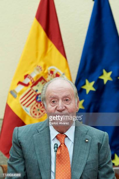 King Juan Carlos attends a meeting with COTEC Foundation at the Royal Palace on May 14, 2019 in Madrid, Spain.