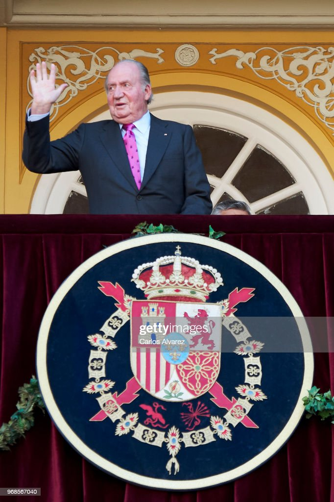 King Juan Carlos attends La Beneficiencia Bullfight at Las Ventas Bullring on June 6, 2018 in Madrid, Spain.