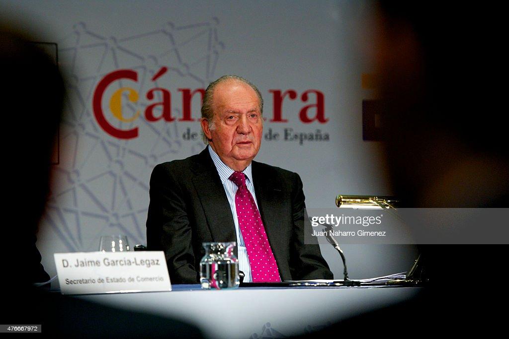 King Juan Carlos attends the closure of 3rd Internationalization Summit at Real Casa de la Moneda on June 11, 2015 in Madrid, Spain.