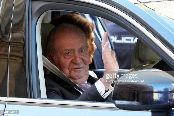 King Juan Carlos attends the Easter mass on April 1 2018 in Palma de Mallorca Spain