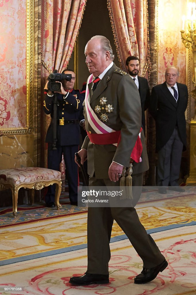 King Juan Carlos attends the Pascua Militar ceremony at the Royal Palace on January 6, 2018 in Madrid, Spain.