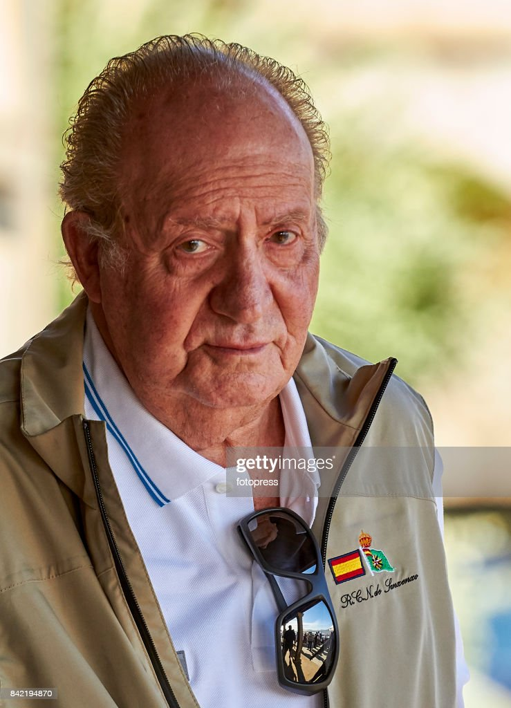 King Juan Carlos attends the sailing regatta 'Principe de Asturias' trophy on September 3, 2017 in Baiona, Spain.