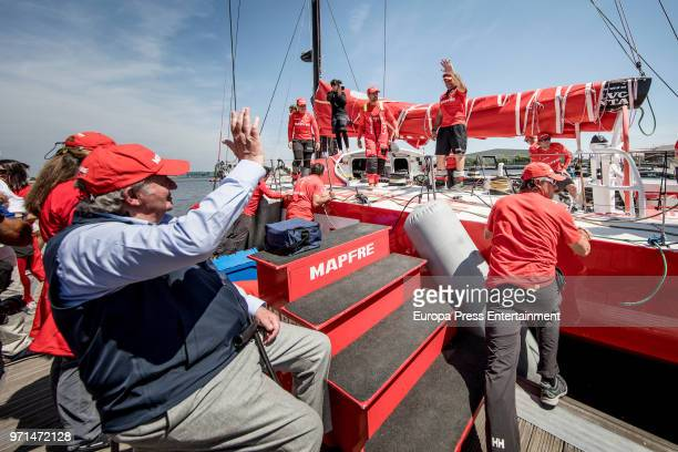 King Juan Carlos and his daughter Princess Elena attend the Volvo Ocean Race to support Mapfre crewmembers on June 10 2018 in Cardiff Wales