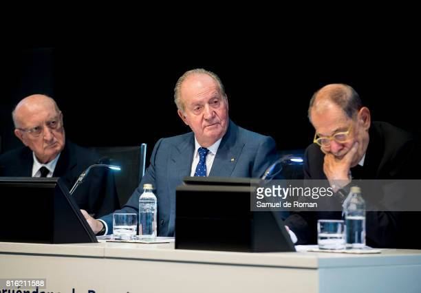 King Juan Carlos Aurelio Menendez and Javier Solana attend the Rodrigo Uria Meruedano Tribute on July 17 2017 in Madrid Spain