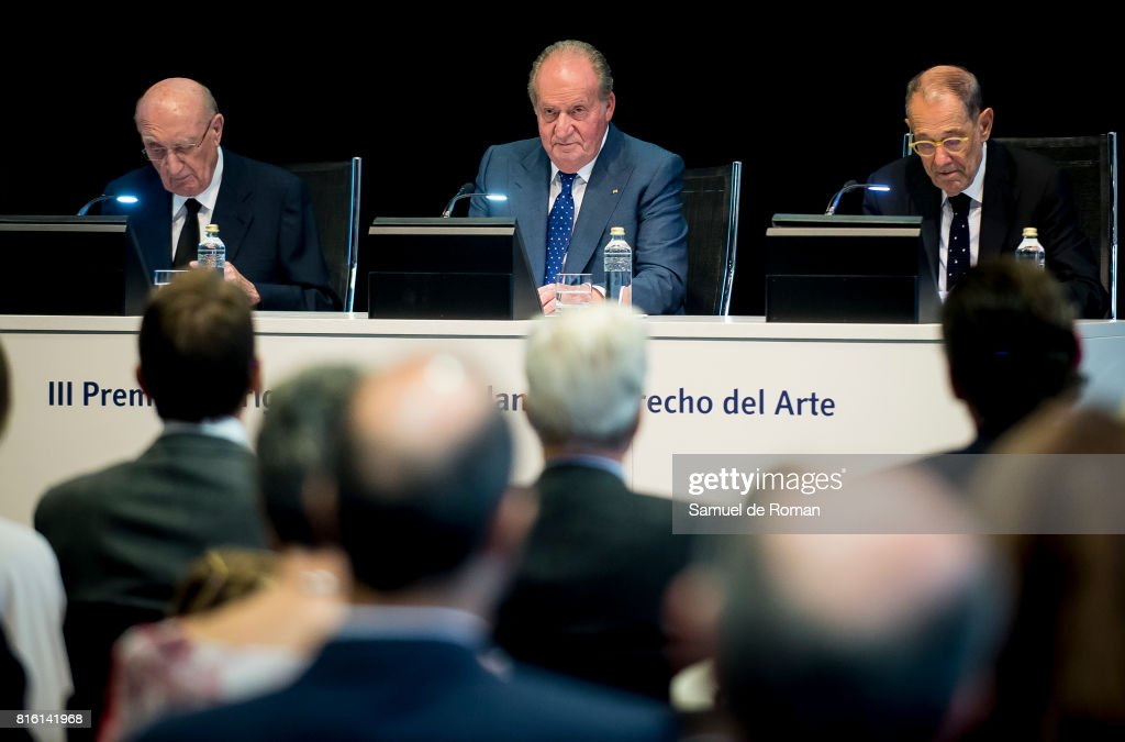 King Juan Carlos, Aurelio Menendez and Javier Solana attends the Rodrigo Uria Meruedano Tribute on July 17, 2017 in Madrid, Spain.