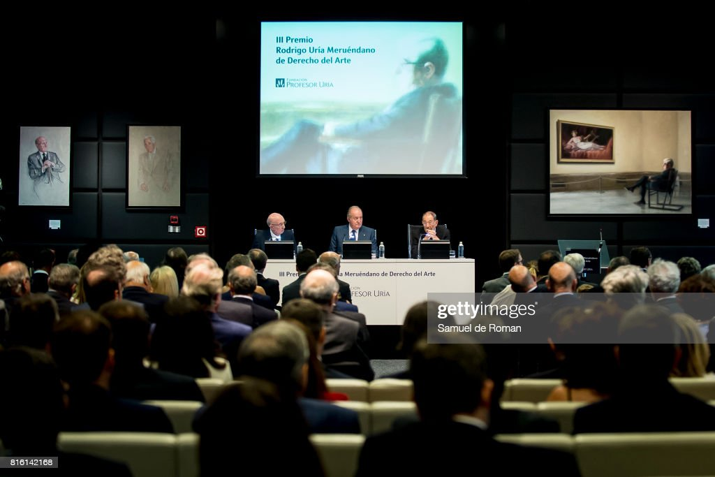 King Juan Carlos, Aurelio Menendez and Javier Solana attends the Rodrigo Uria Meruedano Tribute on July 17, 2017 in Madrid, Spain.