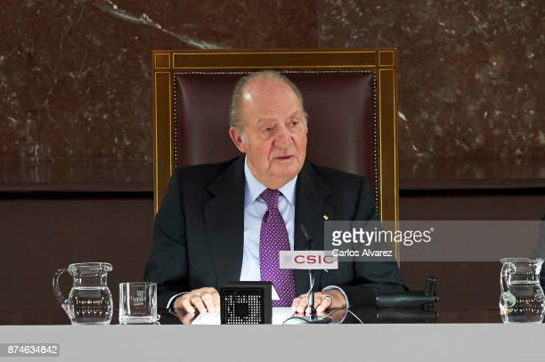 King Juan Carlos delivers FONDENA Award 2017 at the CESIC on November 15, 2017 in Madrid, Spain.