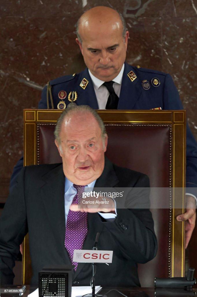 King Juan Carlos delivers FONDENA Award 2017 at the CESIC on November 15, 2017 in Madrid, Spain.