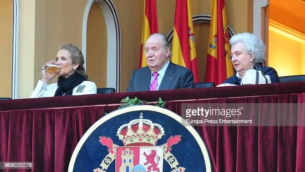 King Juan Carlos his daughter Princess Elena of Spain and his sister Princess Pilar attend La Beneficiencia Bullfight at Las Ventas Bullring on June...