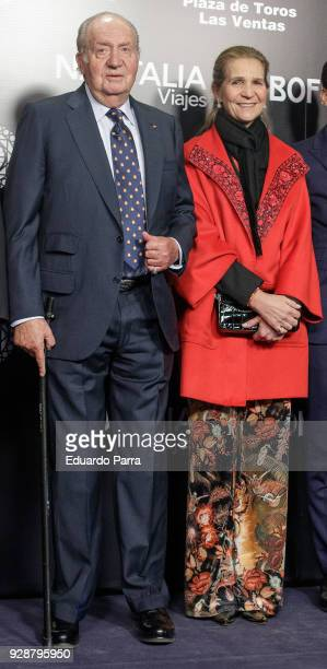 King Juan Carlos I of Spain and Princess Elena de Borbon attend the 'San Isidro 2018' Bullfights Fair presentation at Las Ventas bullring on March 7...