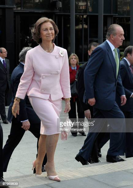 King Juan Carlos I of Spain and Queen Sofia of Spain attend a 'La Caixa' scholarship awards at the La Caixa headquarters on March 23 2010 in...