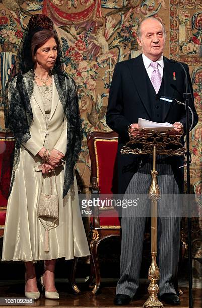 King Juan Carlos I of Spain and Queen Sofia of Spain attend a service marking the 'National Day of Galicia' in the Cathedral of Santiago de...