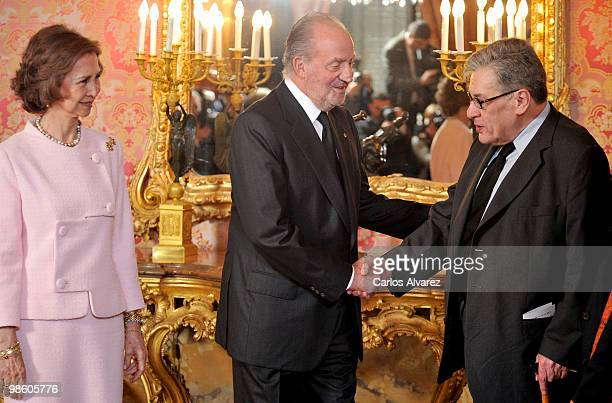 King Juan Carlos I of Spain and Queen Sofia of Spain receive Mexican writer Jose Emilio Pacheco ahead of the Cervantes Awards at the Royal Palace on...