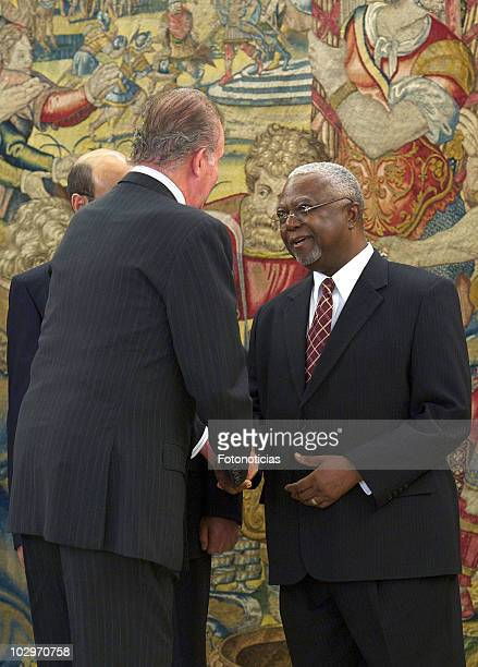 King Juan Carlos I of Spain receives the Prime Minister of the Federal Democratic Republic of Ethiopia Meles Zenawi at Zarzuela Palace on July 19...