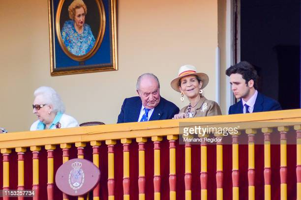 King Juan Carlos is seen attending bullfights at his last institutional public appearance in Aranjuez bullring with Pilar de Borbon and Princess...