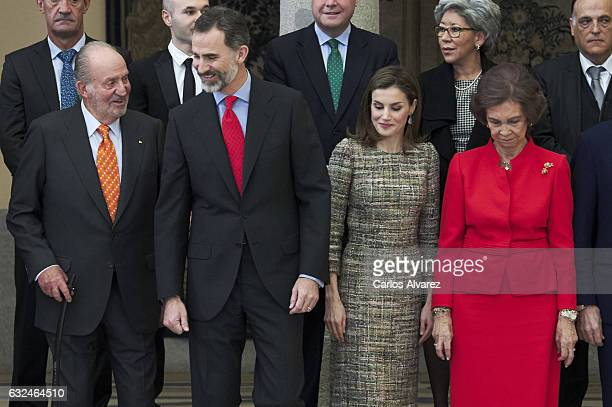 King Juan Carlos King Felipe VI of Spain Queen Letizia of Spain and Queen Sofia attend the National Sports Awards 2015 at the El Pardo Palace on...