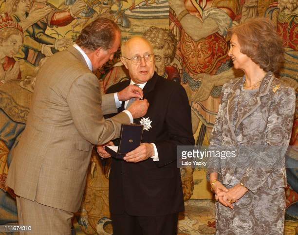 King Juan Carlos Mstislav Rostropovich and Queen Sofia of Spain