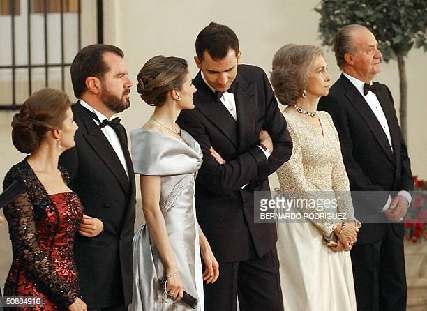 King Juan Carlos of Boubon Queen Sofia of Spain Prince Felipe of Spain his fiancee Letizia Ortiz her parents Paloma Rocasolano and Jesus Ortiz pose...