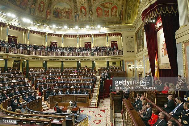 "King Juan Carlos of Spain addresses deputies as Queen Sofia , Prince Felipe , Princess Elena and Princess Cristina held in Spain's Parliament, ""Las..."