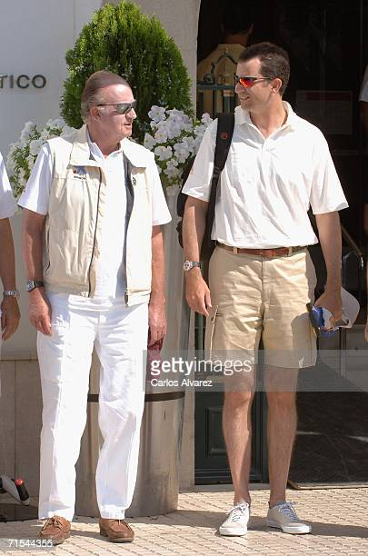 King Juan Carlos of Spain and Crown Prince Felipe attend the 25th Copa del Rey sailing trophy July 31 2006 in Mallorca Spain