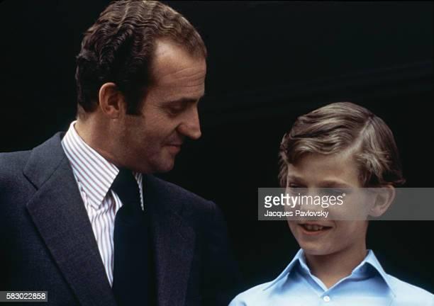 King Juan Carlos of Spain and his son Infante Felipe   Location Madrid Spain