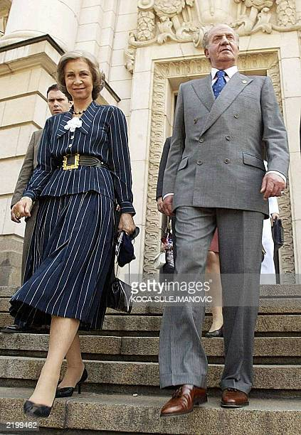 King Juan Carlos of Spain and his wife Queen Sofia leave Sofia's University 10 June 2003 Spanish King Juan Carlos and his wife Queen Sofia are on a...