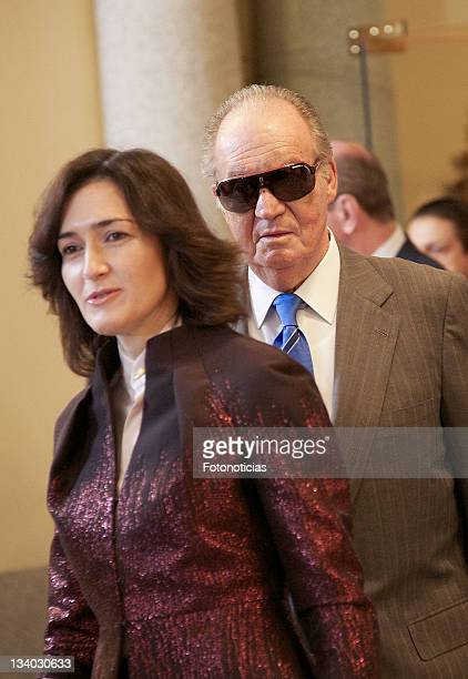 King Juan Carlos of Spain and Minister Angeles Gonzalez Sinde attend the 'Gold Medals of Merit in Fine Arts' cremony at El Pardo Palace on November...