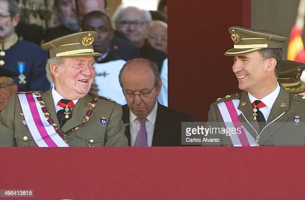 King Juan Carlos of Spain and Prince Felipe of Spain celebrate the bicentenary of San Hermenegildo Order on June 3 2014 in San Lorenzo de El Escoria...