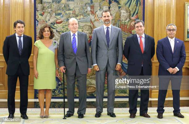 King Juan Carlos of Spain and Prince Felipe of Spain meet members of Madrid 2020 Candidate City team who worked on the campaign to host the 2020...