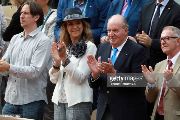 King Juan Carlos of Spain and Princess Elena of Spain attend the 2019 French Tennis Open - Day Fourteen at Roland Garros on June 08, 2019 in Paris,...