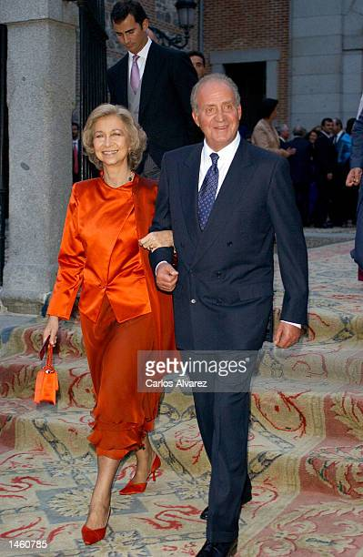 King Juan Carlos of Spain and Queen Sofia after the wedding of Bruno Gomez Acevo nephew of King Juan Carlos of Spain to Barbara Cano October 5 2002...