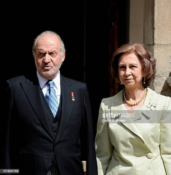 King Juan Carlos of Spain and Queen Sofia of Spain arrive at the Alcala de Henares University to attend the Cervantes prize ceremony to Mexican...