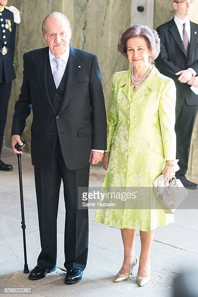 King Juan Carlos of Spain and Queen Sofia of Spain arrive at the Royal Palace to attend Te Deum Thanksgiving Service to celebrate the 70th birthday...