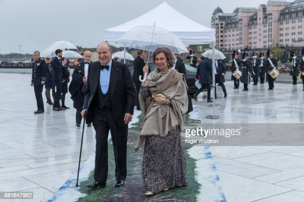 King Juan Carlos of Spain and Queen Sofia of Spain arrives at the Opera House on the occasion of the celebration of King Harald and Queen Sonja of...