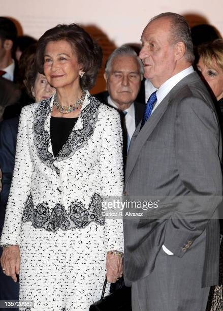 King Juan Carlos of Spain and Queen Sofia of Spain attend a National Library Exhibition on December 13 2011 in Madrid Spain