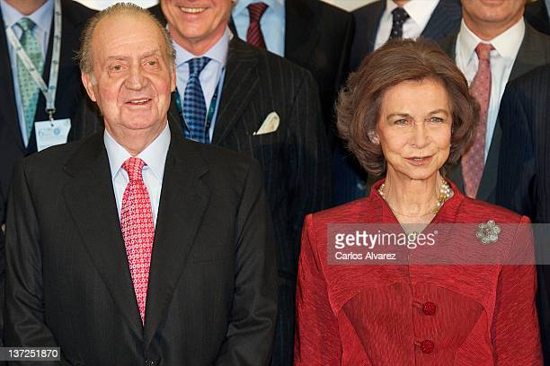 """King Juan Carlos of Spain and Queen Sofia of Spain attend """"Exceltur"""" congress tourism closing ceremony at Ifema on January 17, 2012 in Madrid, Spain."""