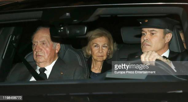 King Juan Carlos of Spain and Queen Sofia of Spain attend Princess Pilar de Borbon Funeral Chapel on January 08 2020 in Madrid Spain