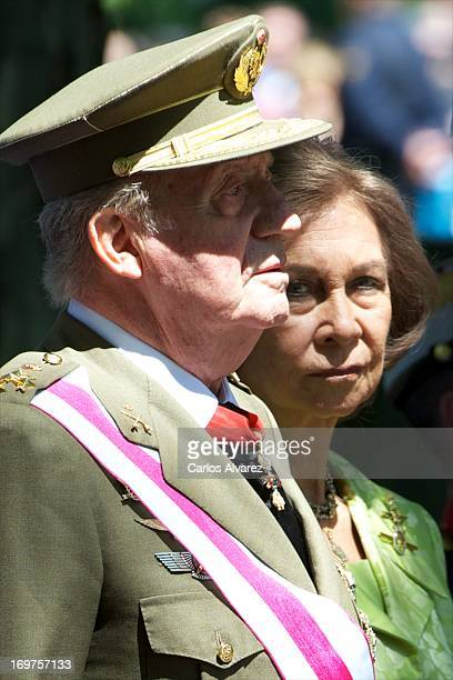 King Juan Carlos of Spain and Queen Sofia of Spain attend the Armed Forces Day on June 1, 2013 in Madrid, Spain.