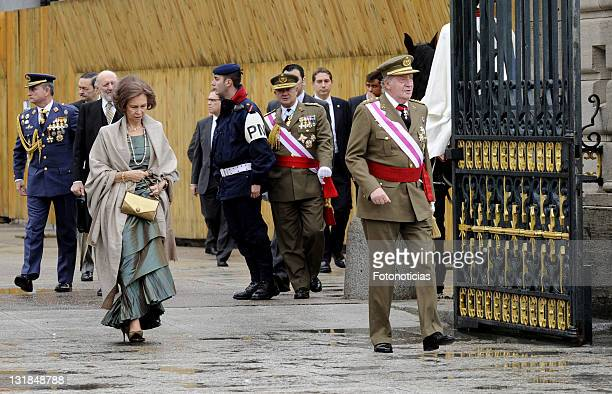King Juan Carlos of Spain and Queen Sofia of Spain attend the new year Pascua Militar ceremony at The Royal Palace on January 6, 2011 in Madrid,...