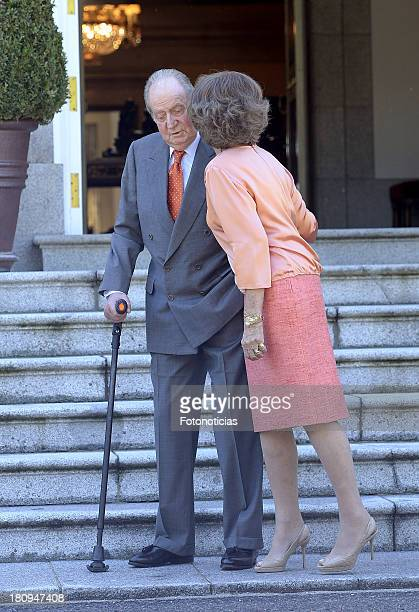 King Juan Carlos of Spain and Queen Sofia of Spain meet King Willem Alexander of The Netherlands and Queen Maxima of The Netherlands at Zarzuela...
